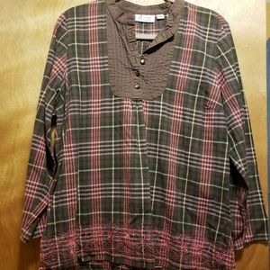 Brown and Pink Plaid 3/4 Sleeve Tunic